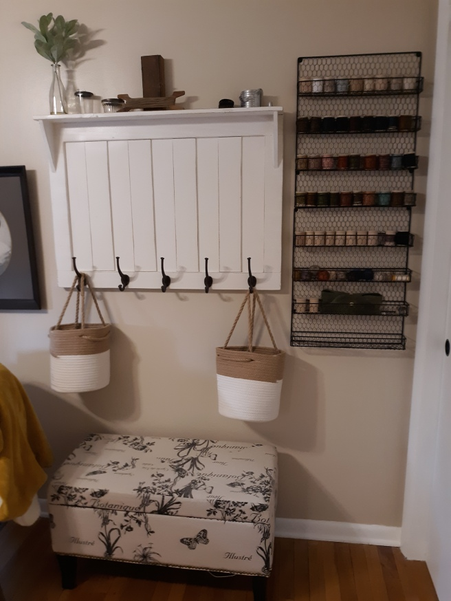 Around the house, a few additions to my little workspace .. I purchased 2 wire spice racks, they are absolutely perfect for holding my spools of Valdani Threads
